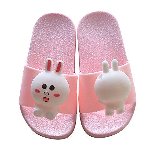 Toddler Boy Girl Summer Sandals Non-Slip Little Kids Sport Slide Lightweight Beach Water Clogs Shoes Shower Pool Slippers (Little Kid 11.5-12M, Pink-Bunny)