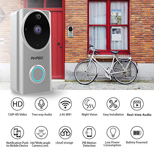 Video Doorbell Wireless WiFi,AKASO Smart Doorbell Camera with Motion Detector,720p Security Camera w/166° Viewing Angle Works with Alexa,Two-Way Audio & Cloud Storage,Night Vision for iOS Android by AKASO (Image #1)