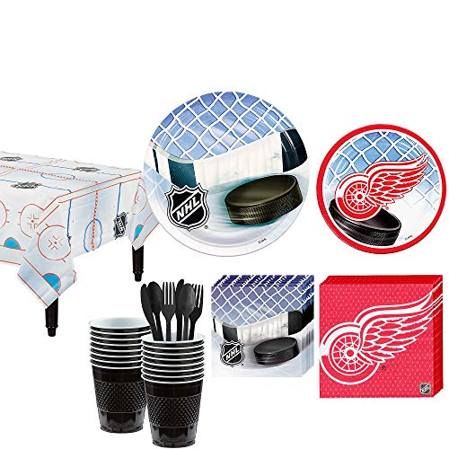 Party City Detroit Red Wings Party Kit for 16 Guests, Includes Table Cover, Plates, Napkins and -