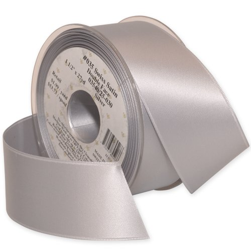 Morex Ribbon Double-Face Swiss Satin Ribbon, 1-1/2-Inch by 27-Yard Spool, Silver