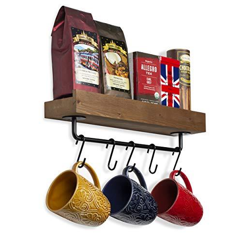 Rustic State Smith Wall Mount Shelf with Rail and 10 Hooks | Spice Rack Kitchen Organizer | Entryway Storage Coat Rack 17 Inch Walnut (Best Budget Hair Straightener)