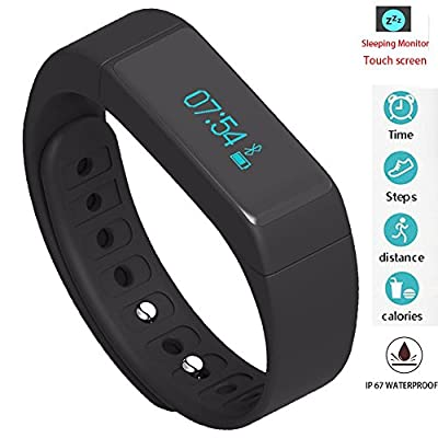 Twinbuys Smart Bracelet Bluetooth 4.0 Android iOS Touch Screen IP68 Waterproof Fitness Tracker Phone Message Notice Pedometer Distance Calories Counter Sleep Monitor Health Sport Wristband Black