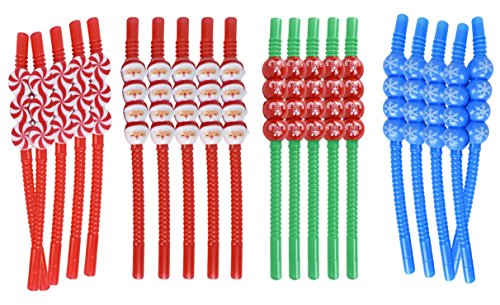Set of 20 Christmas Reusable Straws! Santa, Snowflake, Peppermint, Candycane - 8.25