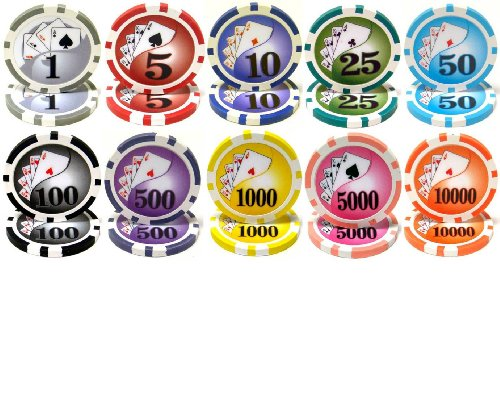 Yin Yang Royal Flush 14gm Clay Poker 10 Chip Sample Set - Comes with Bonus Cut Card! (Clay Royal Flush)