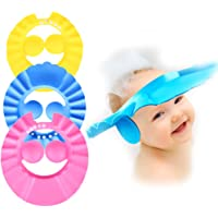 3 PCS Baby bath wash shower cap shampoo visor bathing tub head hair rinser hat prevent water from entering the eyes and…