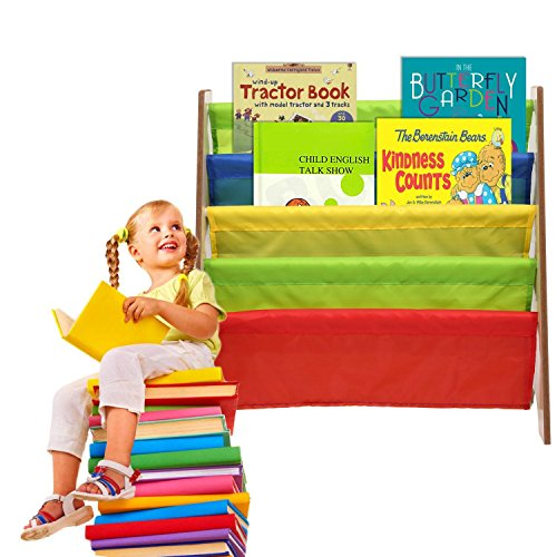 Dtemple Children Kids Book Rack Storage Sling Bookshelf Toy Display ,24.3 x 10.5 x 23.4inch Large Kids Toy Sling Book Rack Display Shelf Organizer Children Bookshelf, Primary Colors (US STOCK) Big Book Rack