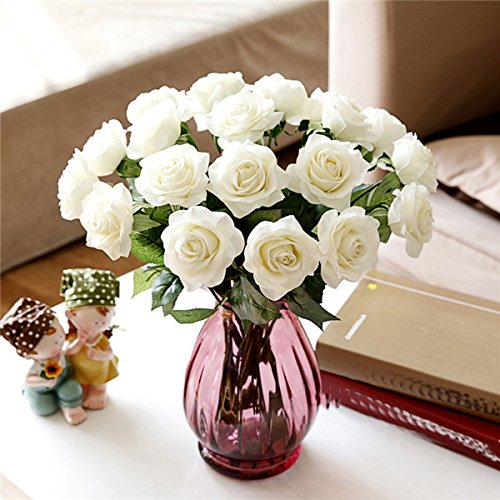 Seasofbeauty 10 Pcs Real Latex Touch Artificial Rose Flowers Wedding Home Decor