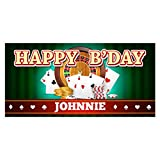 Casino Poker Birthday Banner Personalized Party Backdrop Decoration