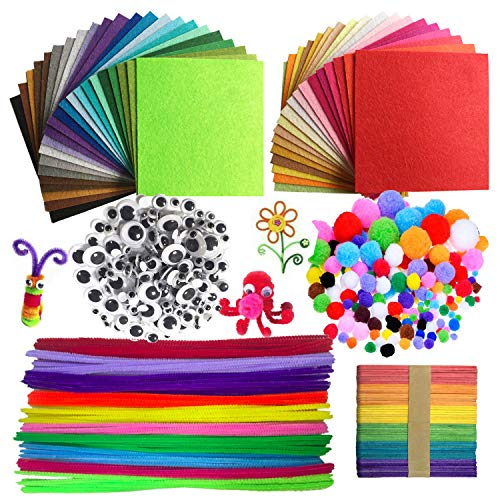 Wartoon Pipe Cleaners Crafts Set, Pipe Cleaners Chenille Stem and Pompoms with Googly Wiggle Eyes and Craft Sticks Assorted Colors Non-Woven Felt Fabric Sheets for Craft DIY Art Supplies, 590 Pieces (Chenille Color)