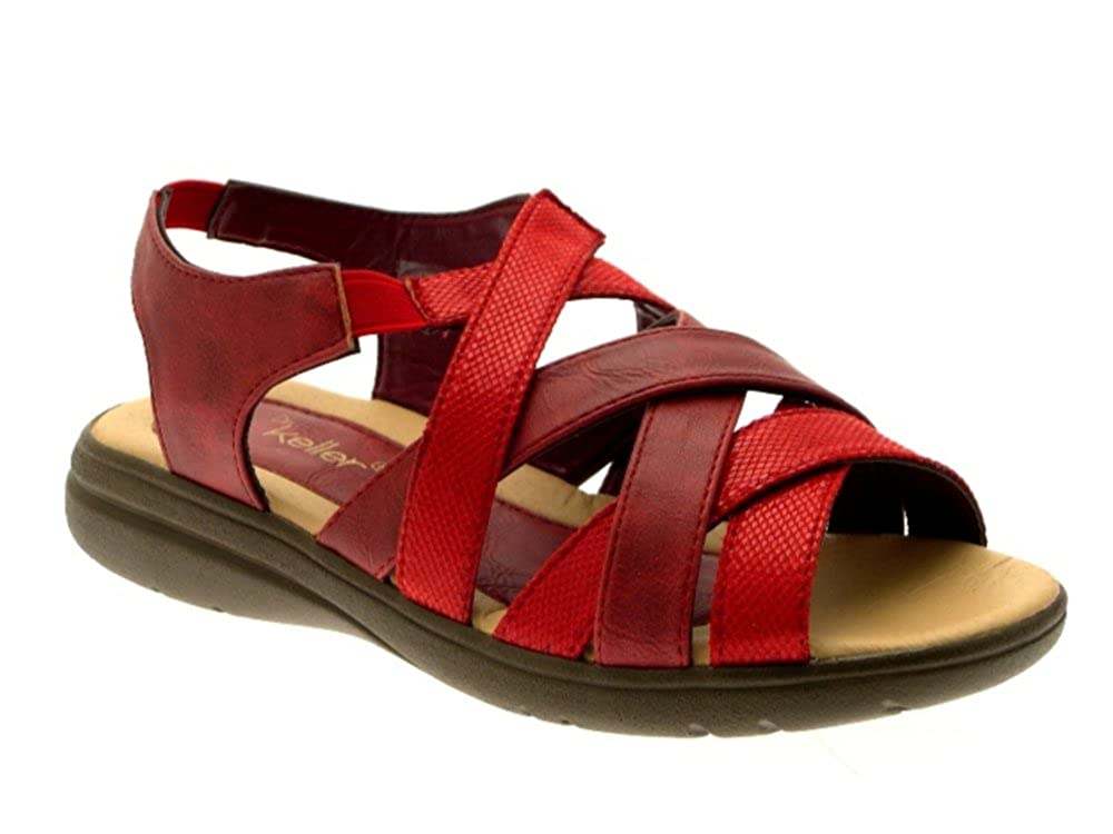 bedf914d56139 DR KELLER WOMENS SANDALS COMFORT CUSHIONED WIDE ELASTIC STRAPS SHOES RED  SIZE UK 8  Amazon.co.uk  Shoes   Bags
