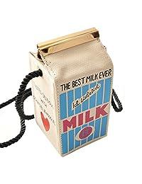BIBITIME Carton Handbag Magnetic Closure Milk Box Shape Phone Case Canvas Bag