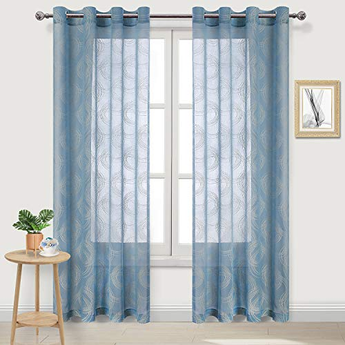 DWCN Faux Linen Sheer Curtains Circle Pattern Burnout Semi Transparent Bedroom and Living Room Curtains 52 x 84 Inch Long, Set of 2 Blue Window Curtain Panels