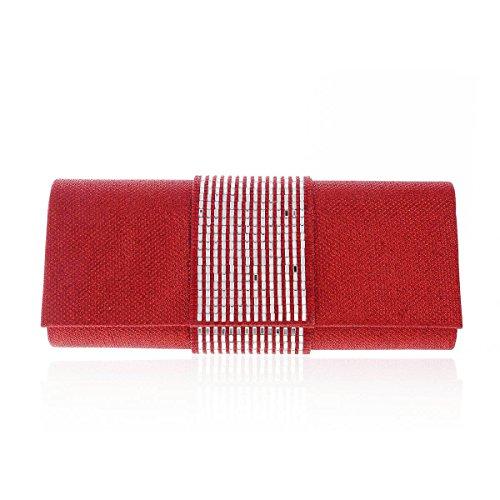 Damara Rulex Handbag Womens Clutch Evening Jewel Red Wedding Bag awXa1rx
