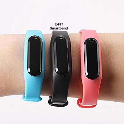 E-FIT New Smart band, Heart Rate Monitor, Step Tracker, Pedometer, Bracelet, Wearable Activity Tracker/ Bluetooth Health Band for iPhone & Android phones + One Free Color Band (Black-Pink)
