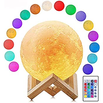 Deewin Moon Light 16 Colors Dimmable LED Change by Touch and Remote Control USB Charging Moon Lamp with Wooden Stand for Lover Kids (Diameter:5.9inch)