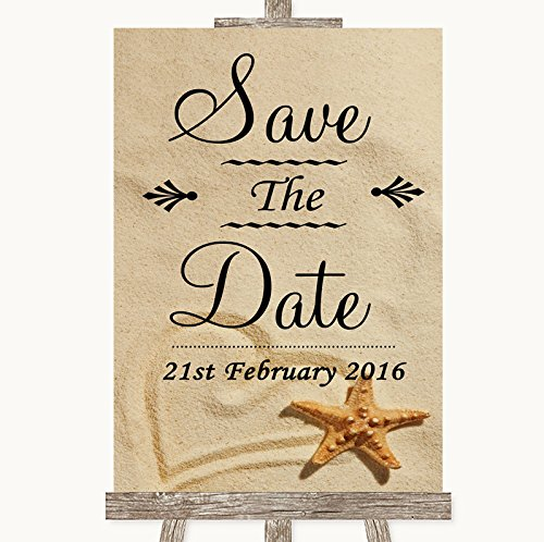 Sandy Beach Save The Date Personalized Wedding Sign