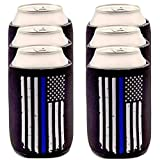 Best Chief Bottle Coozies - Thin Blue Line Can Coolers 6-Pack, Blue Lives Review