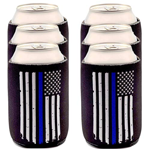Thin Blue Line Can Coolers 6-Pack, Blue Lives Matter Police Officer Gifts Beer Sleeves, Black with American Flag