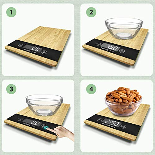 Wood Bamboo Digital Kitchen Scale Multi-Function LCD Display,Unit Conversion,Tare Function Kitchen Scale by Scale 1:1 (Image #5)