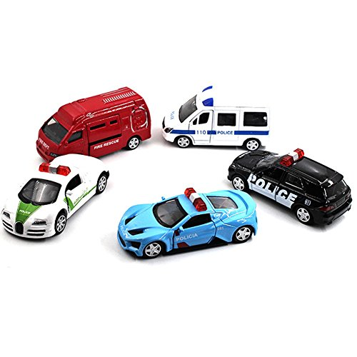 64 Floor Pan (Qiyun 5Pcs Novelty Mini Police Car Toys with Active Door 1:64 Alloy Pull Back Toy Car for Gift Collection Random Style)