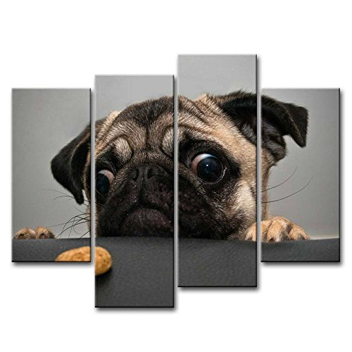 Framed Portrait Pug Dog Animal Pictures Modern Canvas