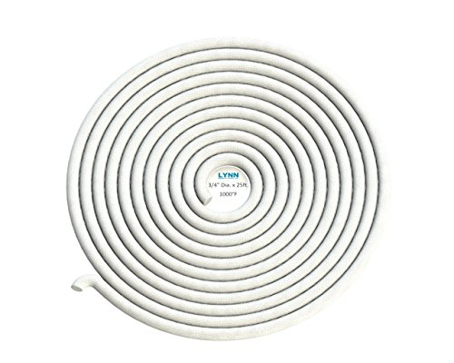 Lynn Manufacturing High Temperature Gasket Rope, 1000F, White, Boiler & Furnace, 3/4'' Diameter x 25ft by Lynn Manufacturing