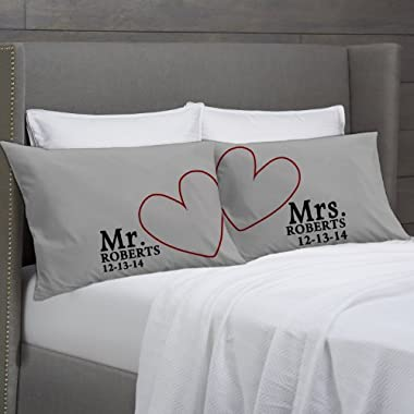 Modern Hearts Mr & MRS Pillowcases (Charcoal, Standard) Personalized for Him for Her Engagement Wedding Gift - Anniversary Pillow Cover Lovers Couples Pillowcases