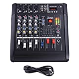 AW 4 Channel 2000 Watt Professional Powered Mixer w/ USB Slot Power Mixing 11x13x5'' 110V