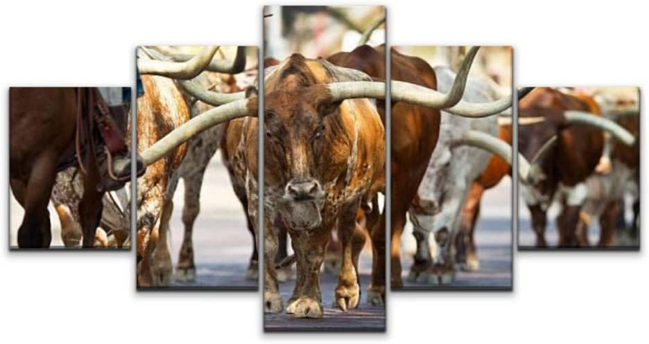 Skipvelo Texas Longhorns at The Fort Worth stockyards Fort Worth Stock Wall Art Canvas Prints Pictures Paintings Artwork Home Decor Stretched and Framed - 5 Pieces