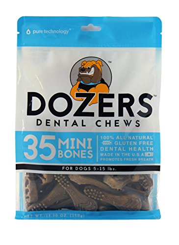 - Dozers Dental Dog Chews - 100% All Natural Ingredients - Gluten Free Dental Healthy Delicious Dog Treat - Promotes Fresh Breath, Mini, 12.3 oz. - 35 Treats