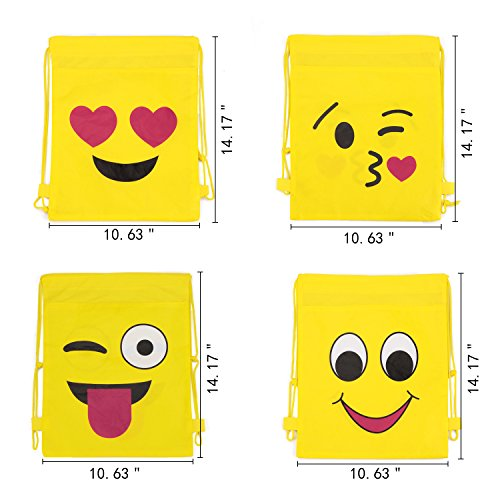 Konsait Emoji Bags for Emoji Party Supplies(12Pack), Emoji Drawstring Backpack Shoulder Bag Bulk Assorted Emoticon Party for Boys Girls Kids Birthday Candy Baby Shower Emoji Party Favors Gift by Konsait (Image #1)
