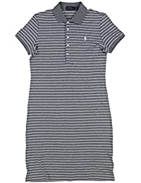 Polo Womens Interlock Polo Dress (Large, Gray White Stripes)