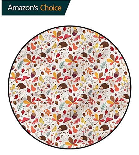 RUGSMAT Autumn Dining Room Home Bedroom Carpet Floor Mat,Woodland Wildlife Pinecone Perfect for Any Room, Floor Carpet Diameter-59