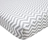 American Baby Company Fitted Portable/Mini Crib Sheet, 100% Natural Cotton Percale, Grey Zigzag, Soft Breathable, for Boys and Girls
