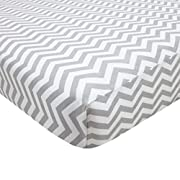 American Baby Company Fitted Portable/Mini Crib Sheet, 100% Cotton Percale, Grey Zigzag