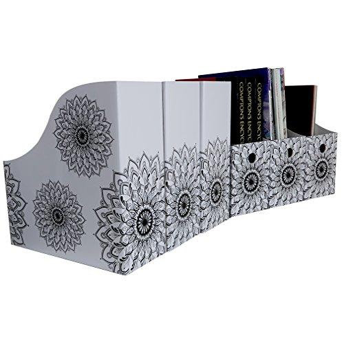 Evelots Set of 6 Magazine File Holder Organizer Boxes W/ Labels, Mandala Design