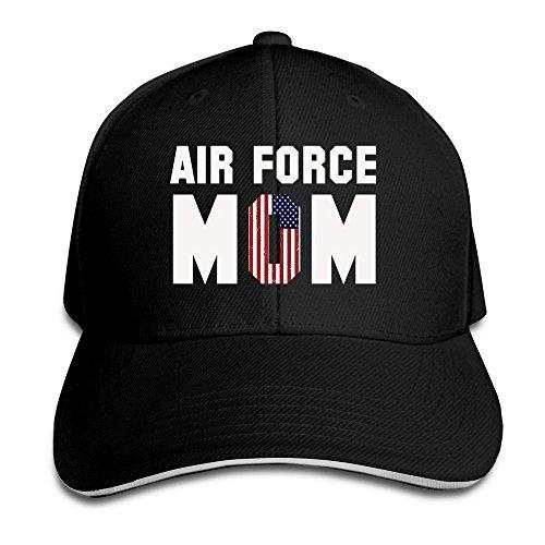 Runy Custom Air Force Mom Adjustable Sanwich Hunting Peak Hat & Cap Black