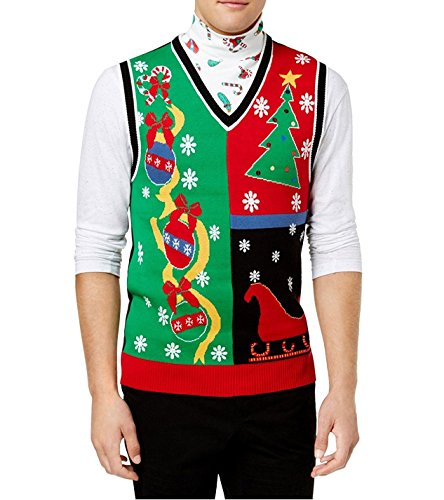 (American Rag Men's Ugly Holiday Sweater Vest,Red (Medium))