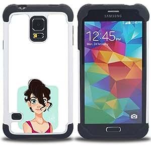 """SAMSUNG Galaxy S5 V / i9600 / SM-G900 - 3 en 1 impreso colorido de Altas Prestaciones PC Funda chaqueta Negro cubierta gel silicona suave (Chica emo"""")"""