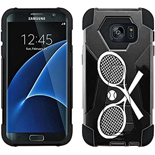 Samsung Galaxy S7 Edge Hybrid Case Silhouette Cross Tennis Racquets on Black 2 Piece Style Silicone Case Cover Sales