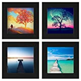 One Wall 4pcs 4x4 Black Picture Frame Set Clear Glass Well Packed (Window 3.6x3.6), Wood Photo Frame Wall Mounting Material Included