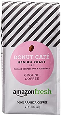 AmazonFresh Donut Cafe Ground Coffee, Medium Roast, 12 Ounce by AFS Brands LLC