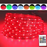 LED Rope Lights, 16.4ft Flat Flexible RGB Strip Light, Color Changing, Waterproof for Indoor/Outdoor use, Connectable Decorative Lighting, 8 colors and Multiple Modes