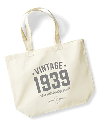 80th Birthday 1939 Keepsake Gift Looking Good Ladies Shopping Bag Present Tote Idea Natural Amazoncouk Kitchen Home