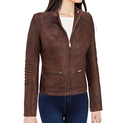 Distressed Blazer (Women's Cafe Racer Vintage Brown Biker Leather Jacket)