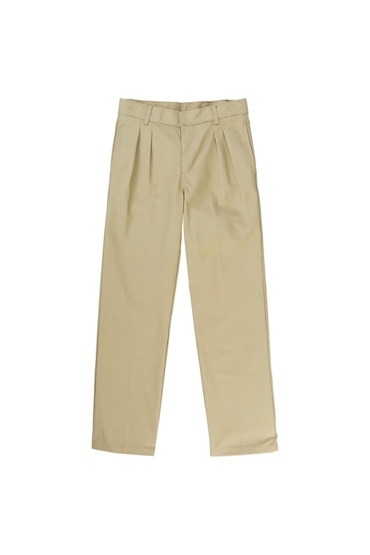 French Toast Big Boys' Pleated Double Knee Pant with Adjustable Waist, Khaki, 8