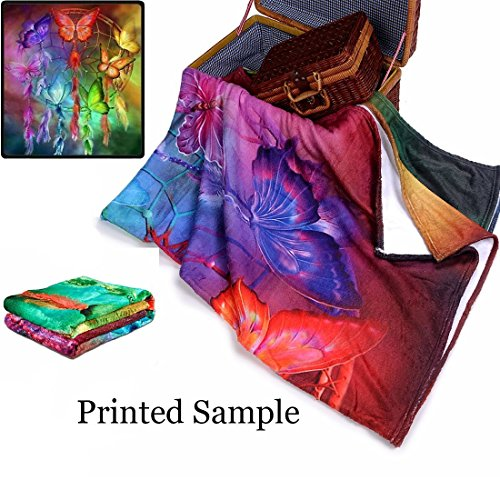Qihua Vintage Style Custom Printing 3D Flower Blanket Travel Velvet Plush Throw Blanket Bed Blankets Super Soft and Cozy Fleece Felling Blanket Perfect for Couch Sofa or Bed by Qihua (Image #4)