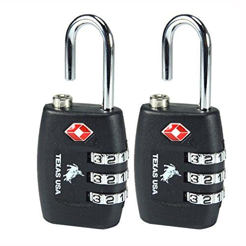 - Texas USA - TSA Lock - Pack of 2 Black Locks - Mandatory for US Customs (ONLY Original Branded Lock Online !)