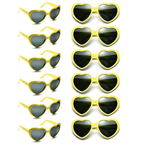 12 Pack Wholesales Heart Shape Design Neon Colors Cute Love Sunglasses for Birthday, Bachelorette, Sunmmer Vacation Parties 100% UV Protection Eyewear for Women and Girls (yellow)]()