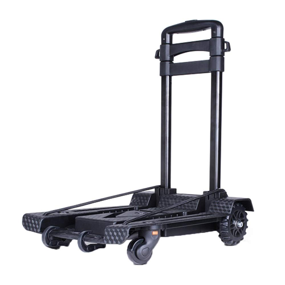 Trolley Folding Compact and Durable Luggage Cart, 3-Section Lever Adjustment Travel Cart, 88lbs Load 4-Wheel Multi-Function, Suitable for Warehouse/Home/Factory, Black
